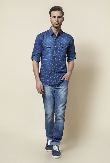Zudio Indigo Printed Shirt