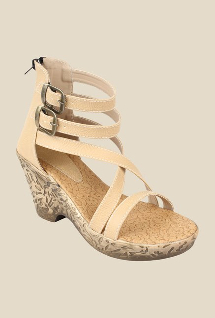 Niremo Cream Ankle Strap Wedges