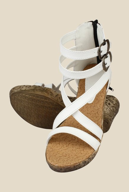 Niremo White Ankle Strap Wedges