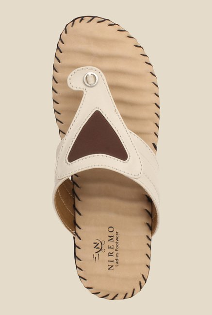 Niremo Cream T-Strap Sandals