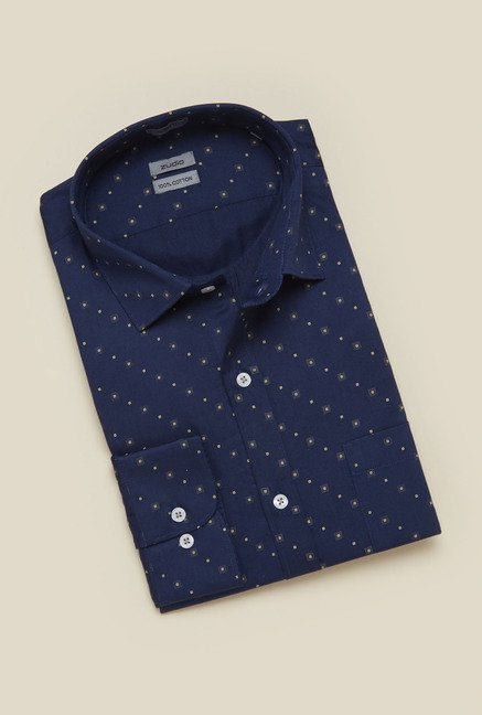 Zudio Navy Printed Shirt