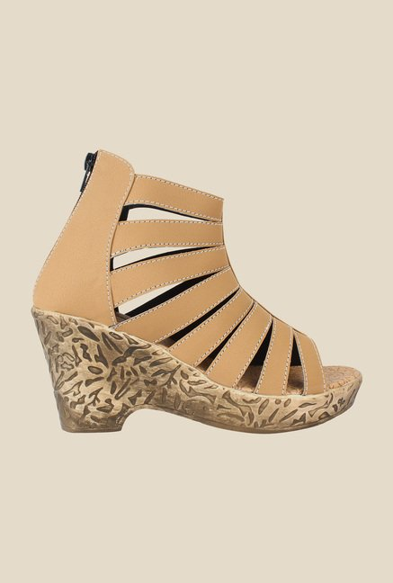 Niremo Beige Wedge Heeled Sandals
