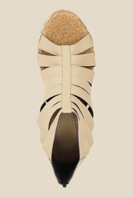 Niremo Cream Wedge Heeled Sandals