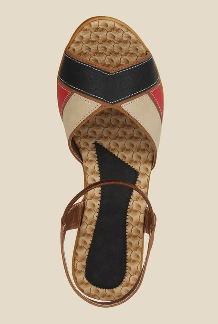 Niremo Brown & Black Sling Back Wedges