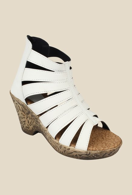 Niremo White Wedge Heeled Sandals
