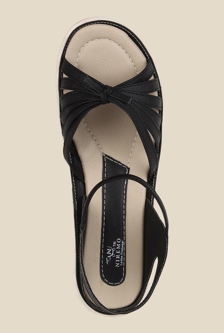 Niremo Black Sling Back Sandals