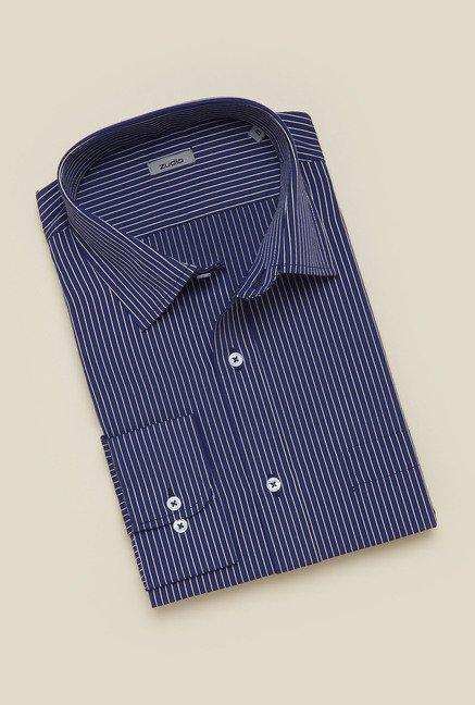 Zudio Navy Striped Shirt