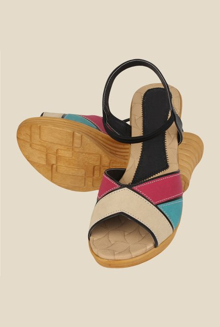 Niremo Black & Pink Sling Back Wedges