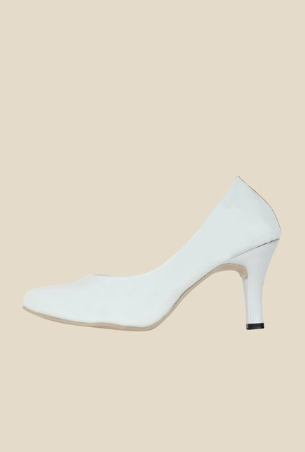 Niremo White Stiletto Heeled Pumps