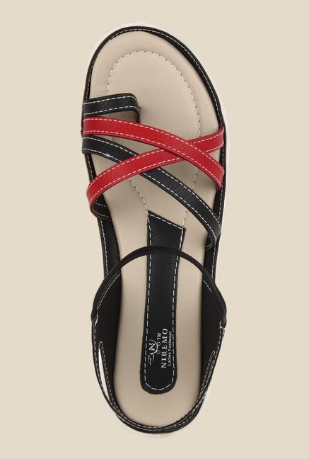 Niremo Black & Red Sling Back Sandals