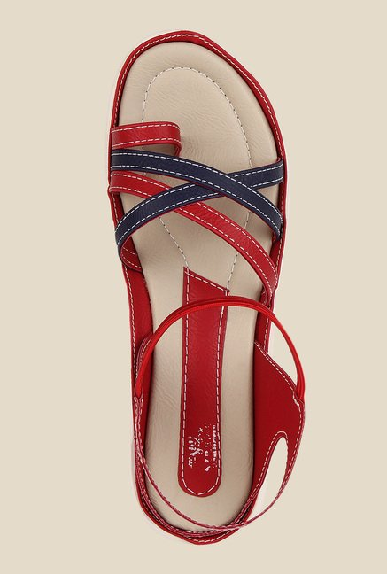 Niremo Red & Navy Sling Back Sandals