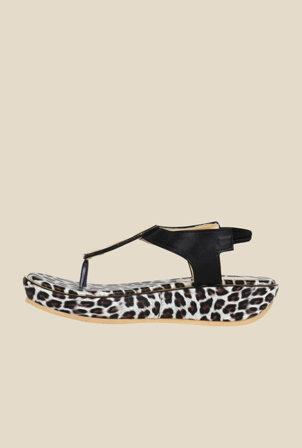 Niremo Black & Golden Sling Back Sandals