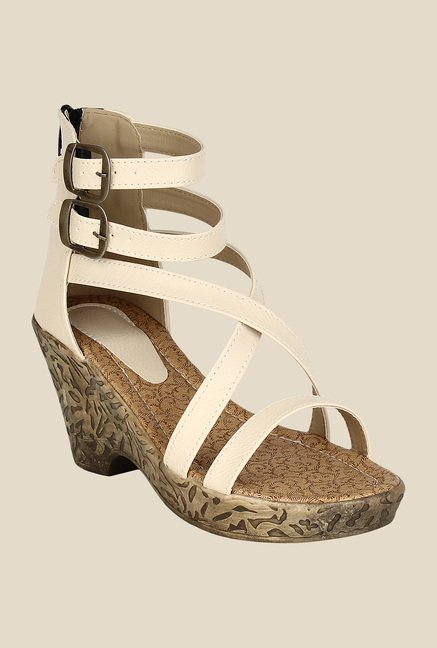Niremo Light Cream Ankle Strap Wedges