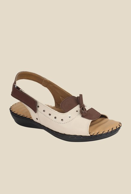 Niremo Cream & Brown Back Strap Sandals
