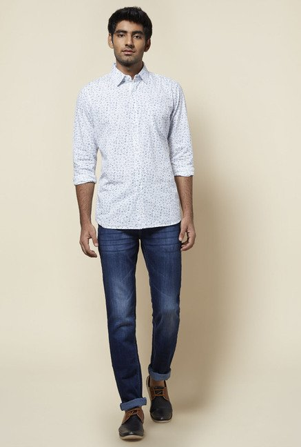 Zudio White Printed Shirt