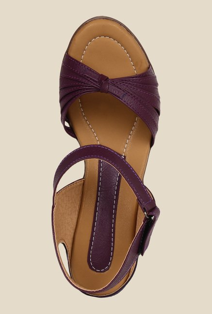 Niremo Purple Ankle Strap Wedges