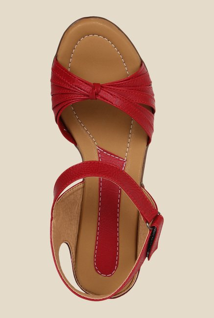 Niremo Red Ankle Strap Wedges