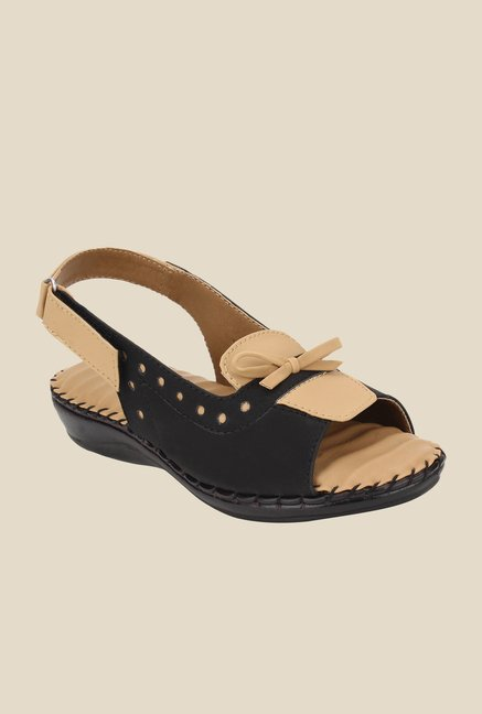 Niremo Black & Beige Back Strap Sandals