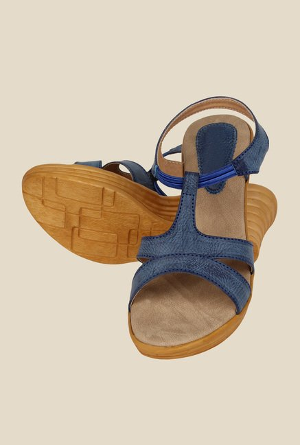 Niremo Blue Sling Back Wedges