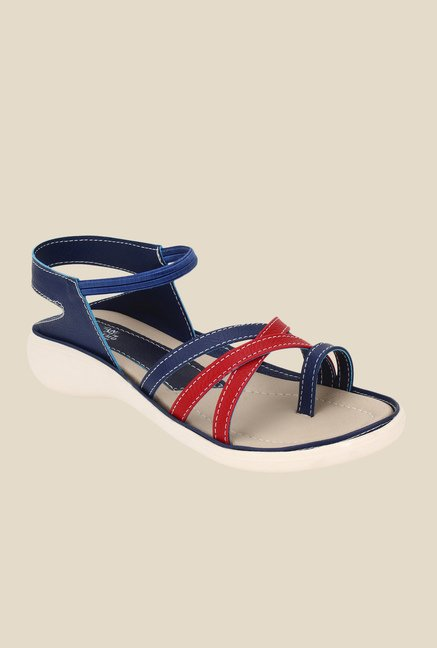 Niremo Navy & Red Sling Back Sandals