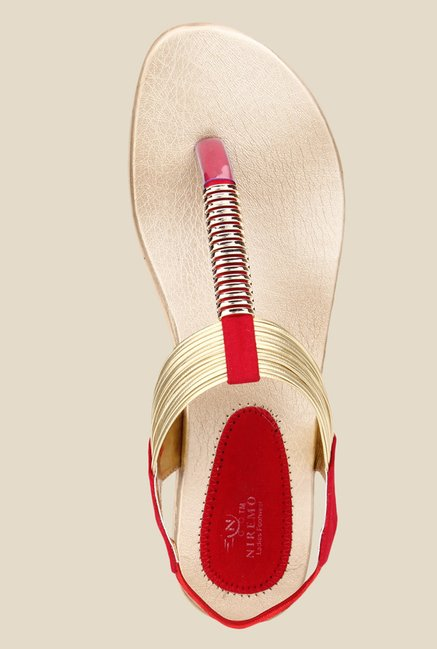 Niremo Red & Golden Sling Back Sandals