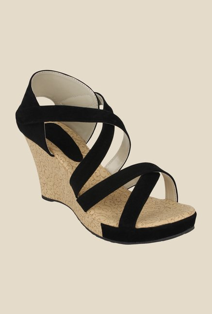 Niremo Black Wedge Heeled Sandals