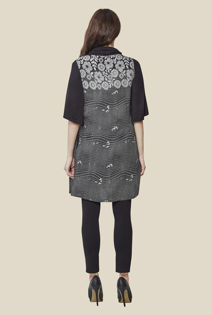 AND Black & White Printed Rayon Tunic
