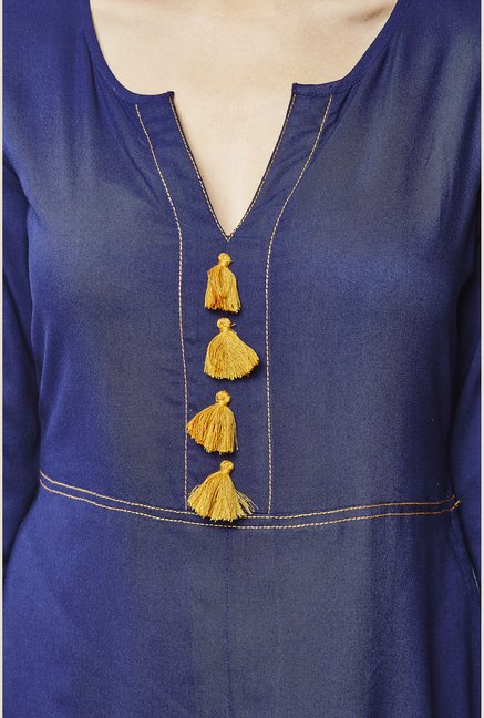 Global Desi Royal Blue Solid Kurta