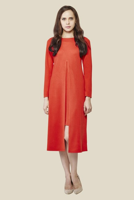 AND Tangerine Solid Dress