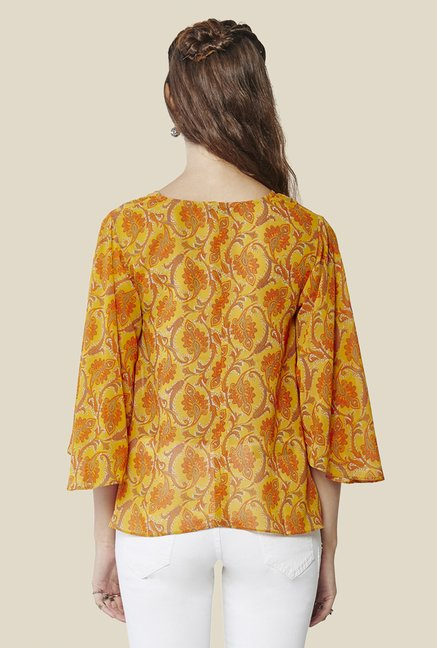 Global Desi Mustard Floral Print Top