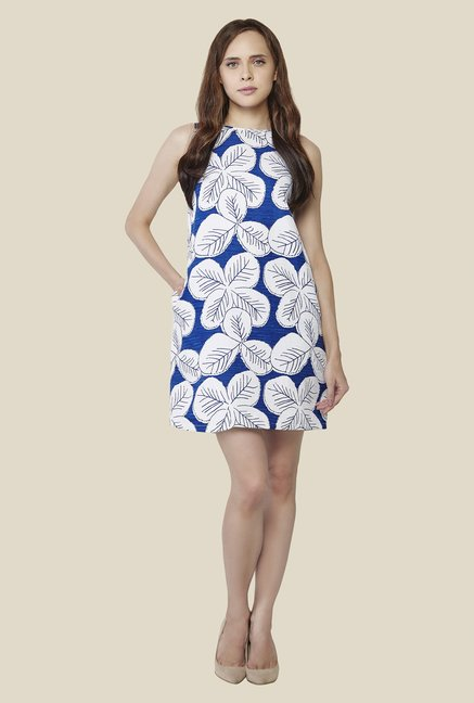 AND Blue & White Printed Dress