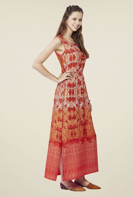 Global Desi Multicolor Floral Print Dress