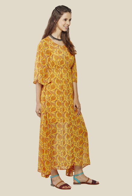 Global Desi Mustard Printed Dress