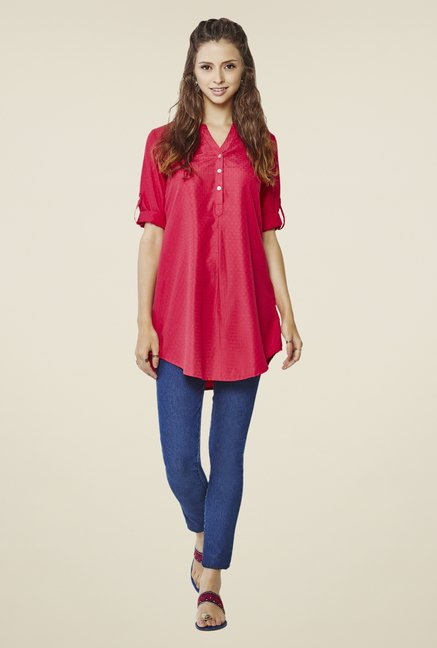 Global Desi Pink Embroidered Tunic