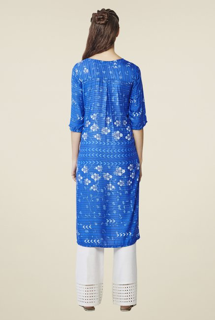 Global Desi Blue Floral Print Kurta