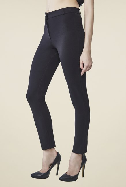 AND Black Solid Slim Fit Trousers