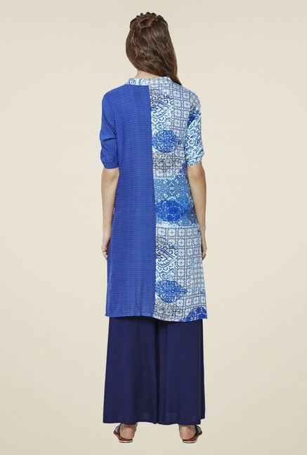 Global Desi Blue Floral Printed Kurta