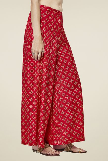 Global Desi Red Print Palazzos