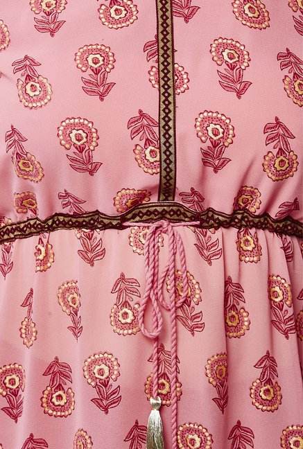 Global Desi Pink Floral Print Suit Set