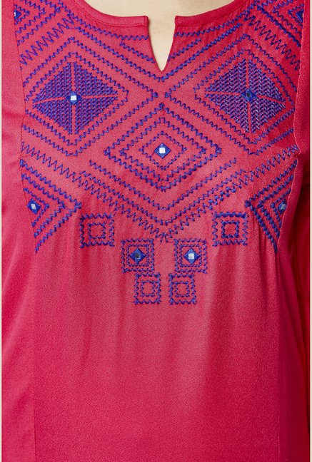 Global Desi Pink Embroidered Kurta
