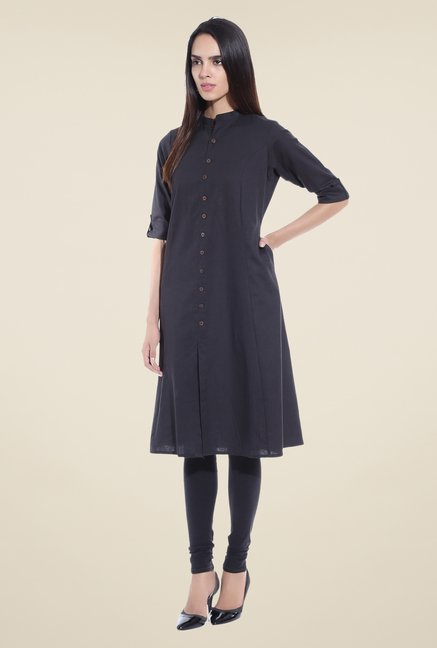 Shree Black Solid Linen Kurta