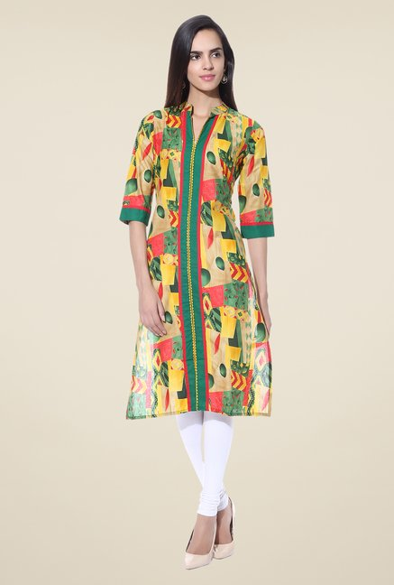 Shree Yellow & Green Printed Cotton Kurta