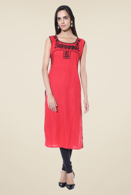 Shree Red Embroidered Rayon Kurta