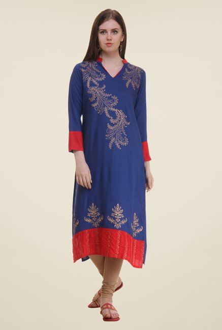Shree Blue Printed Viscose Kurta