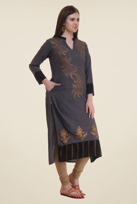 Shree Grey Printed Viscose Kurta