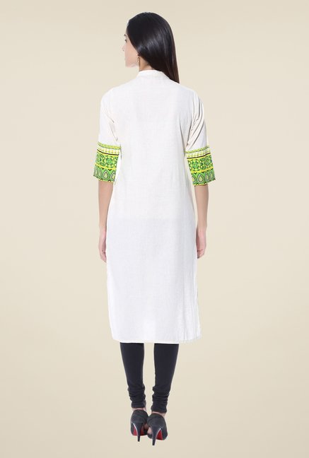 Shree White & Green Printed Linen Kurta