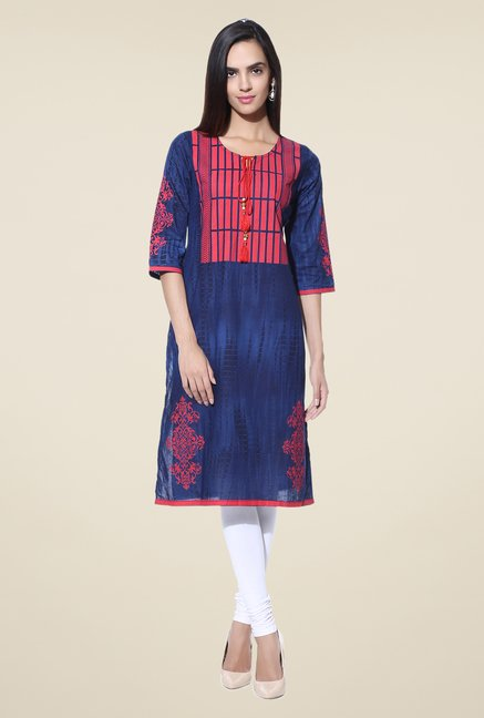 Shree Blue Printed Cotton Kurta