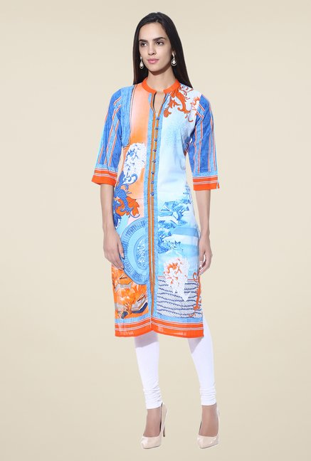 Shree Blue & Orange Floral Print Cotton Kurta