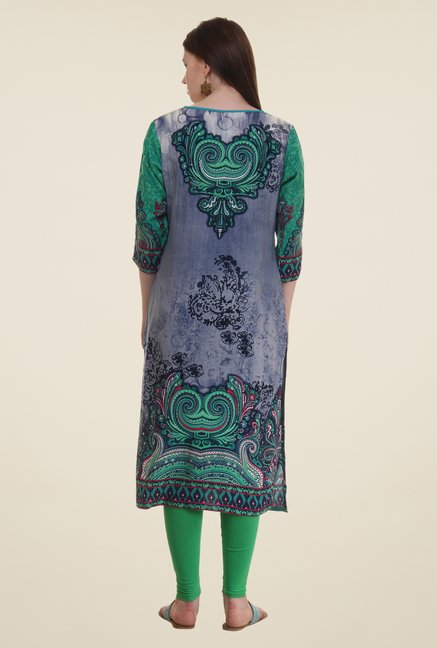 Shree Green & Grey Printed Rayon Kurta