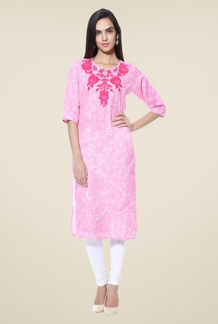 Shree Pink Embroidered Blended Kurta